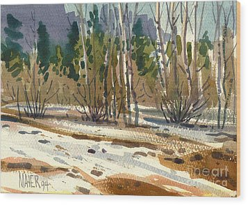 Snow Melt Wood Print by Donald Maier