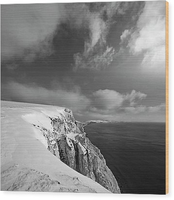 Snow On Highdown, Freshwater, Isle Of Wight Wood Print by s0ulsurfing - Jason Swain