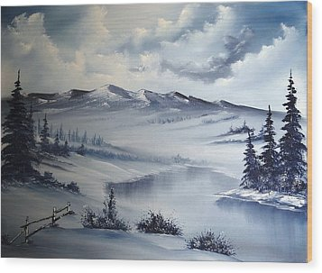 Snow On The Range Wood Print by John Koehler