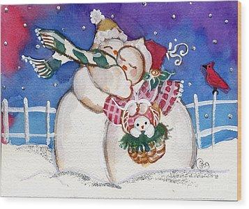 Snow People Wood Print by Sylvia Pimental