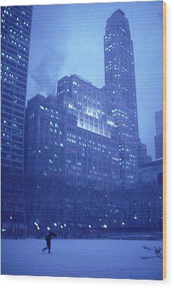 Wood Print featuring the photograph Snow Storm Bryant Park New York City by Tom Wurl