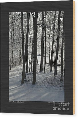 Wood Print featuring the photograph Snow Trees And Sunlight-ii by Patricia Overmoyer