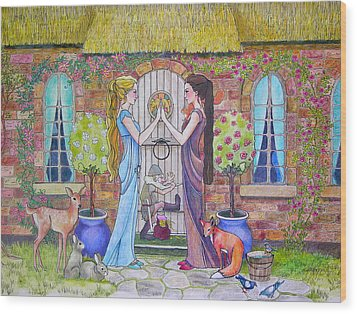 Snow White And Rose Red Wood Print by Robin Birrell