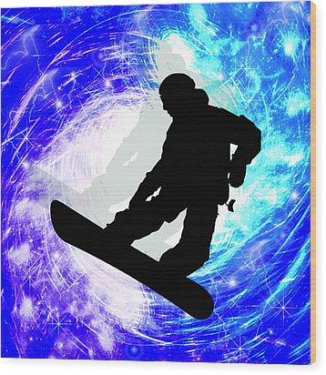 Snowboarder In Whiteout Wood Print by Elaine Plesser