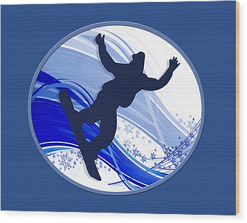 Snowboarding And Snowflakes Wood Print by Elaine Plesser