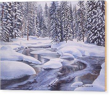Snowbound Wood Print by Sharon Freeman