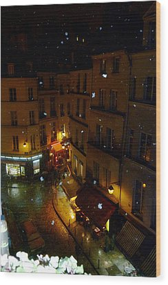 Snowfall In Paris Latin Quarter Wood Print