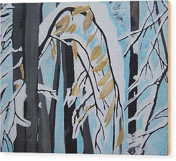 Wood Print featuring the painting Snowfall by Krista Ouellette