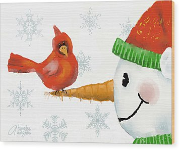 Wood Print featuring the digital art Snowman And The Cardinal by Arline Wagner