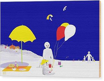 Wood Print featuring the digital art Snowman Family Holiday by Barbara Moignard