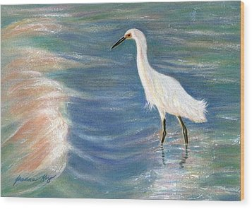Snowy Egret At Sunset Wood Print by Jeanne Kay Juhos