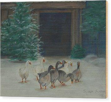 Snowy Geese Wood Print by Susan Fuglem