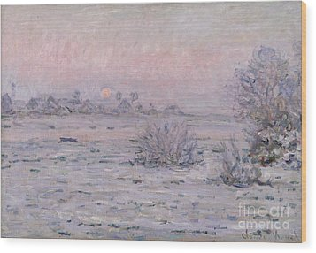Snowy Landscape At Twilight Wood Print by Claude Monet