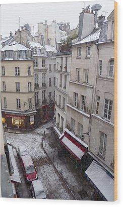 Snowy Morning Paris Latin Quarter Wood Print by Amelia Racca