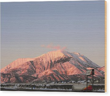 Snowy Mountain At Sunset Wood Print
