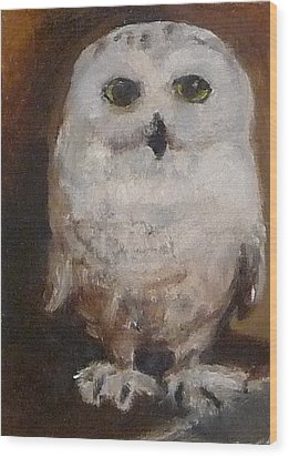 Wood Print featuring the painting Snowy Owl by Jessmyne Stephenson
