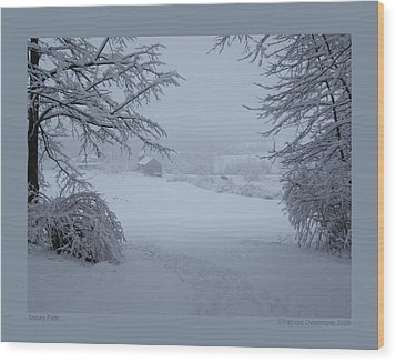 Wood Print featuring the photograph Snowy Path by Patricia Overmoyer
