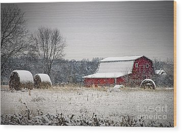 Snowy Red Barn Wood Print by Cheryl Davis