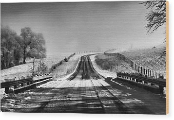 Snowy Road Wood Print by Brent Craft
