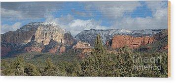 Snowy Sedona Afternoon Wood Print by Sandra Bronstein