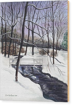 Snowy Shawnee Stream Wood Print