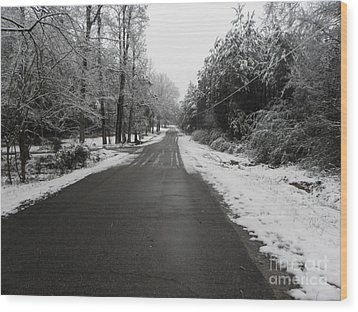 Snowy Street After A Winter Storm Wood Print by Cindy Hudson
