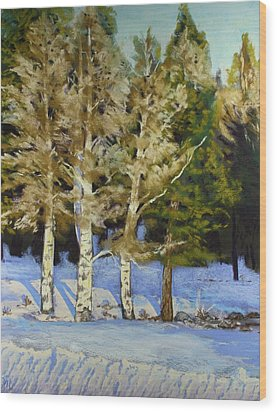 Snowy Sunset Aspen Wood Print by Drusilla Montemayor