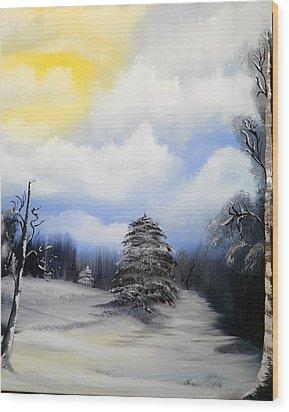 Snowy Sunshine Wood Print by Amity Traylor