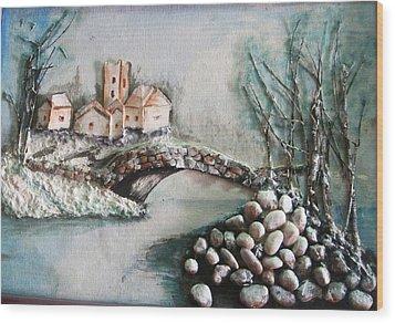 Snowy Village Wood Print by Rejeena Niaz