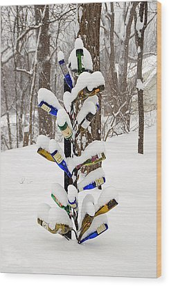 Snowy Wine Bottle Sculpture Wood Print by Aimee L Maher Photography and Art Visit ALMGallerydotcom