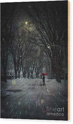 Snowy Winter Scene With Woman Walking At Night Wood Print by Sandra Cunningham