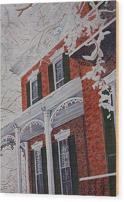 Snowy Yesteryear Wood Print by Patsy Sharpe