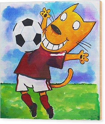 Soccer Cat 3 Wood Print by Scott Nelson