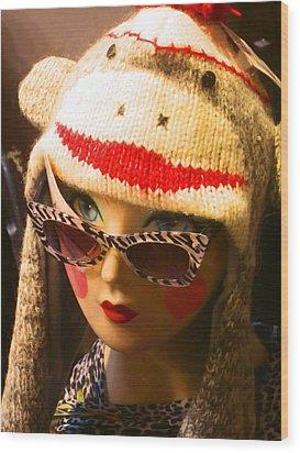 Sock Monkey Zebra Glasses Wood Print by Kym Backland