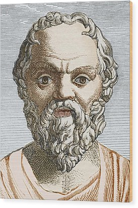 Socrates, Ancient Greek Philosopher Wood Print by Sheila Terry