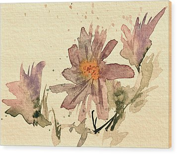 Soft Asters Aged Look Wood Print by Beverley Harper Tinsley