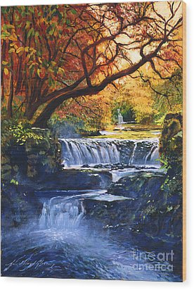Soft Sounds Of Water Wood Print by David Lloyd Glover
