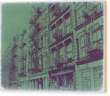 Soho New York Wood Print by Naxart Studio
