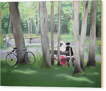 Solace In The Park Wood Print by Barbara Gulotta