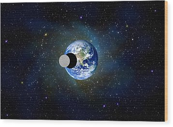 Solar Eclipse Wood Print by Bruce Iorio