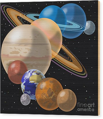 Solar System Wood Print by Mark Giles and Photo Researchers