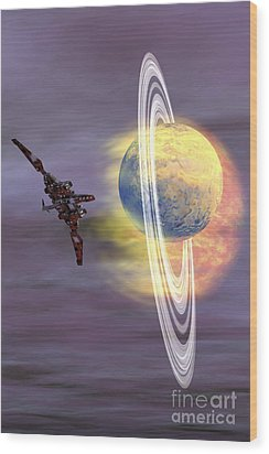 Solar Winds Hit A Ringed Planet Wood Print by Corey Ford
