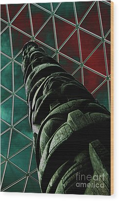 Solarised Totem Pole Wood Print by Urban Shooters