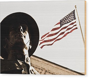 Soldier And Flag Wood Print by Syed Aqueel