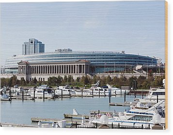 Soldier Field Chicago Wood Print by Paul Velgos