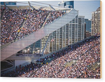 Soldier Field Crowd Wood Print