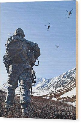 Soldier Patrols Through Alaska's Wood Print by Stocktrek Images