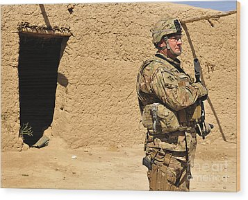 Soldier Stands Guard During A Routine Wood Print by Stocktrek Images