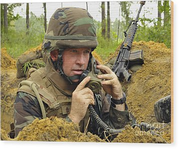 Soldier Using A Ta-1 Sound Powered Wood Print by Stocktrek Images