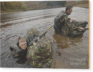 Soldiers Participate In A River Wood Print by Andrew Chittock